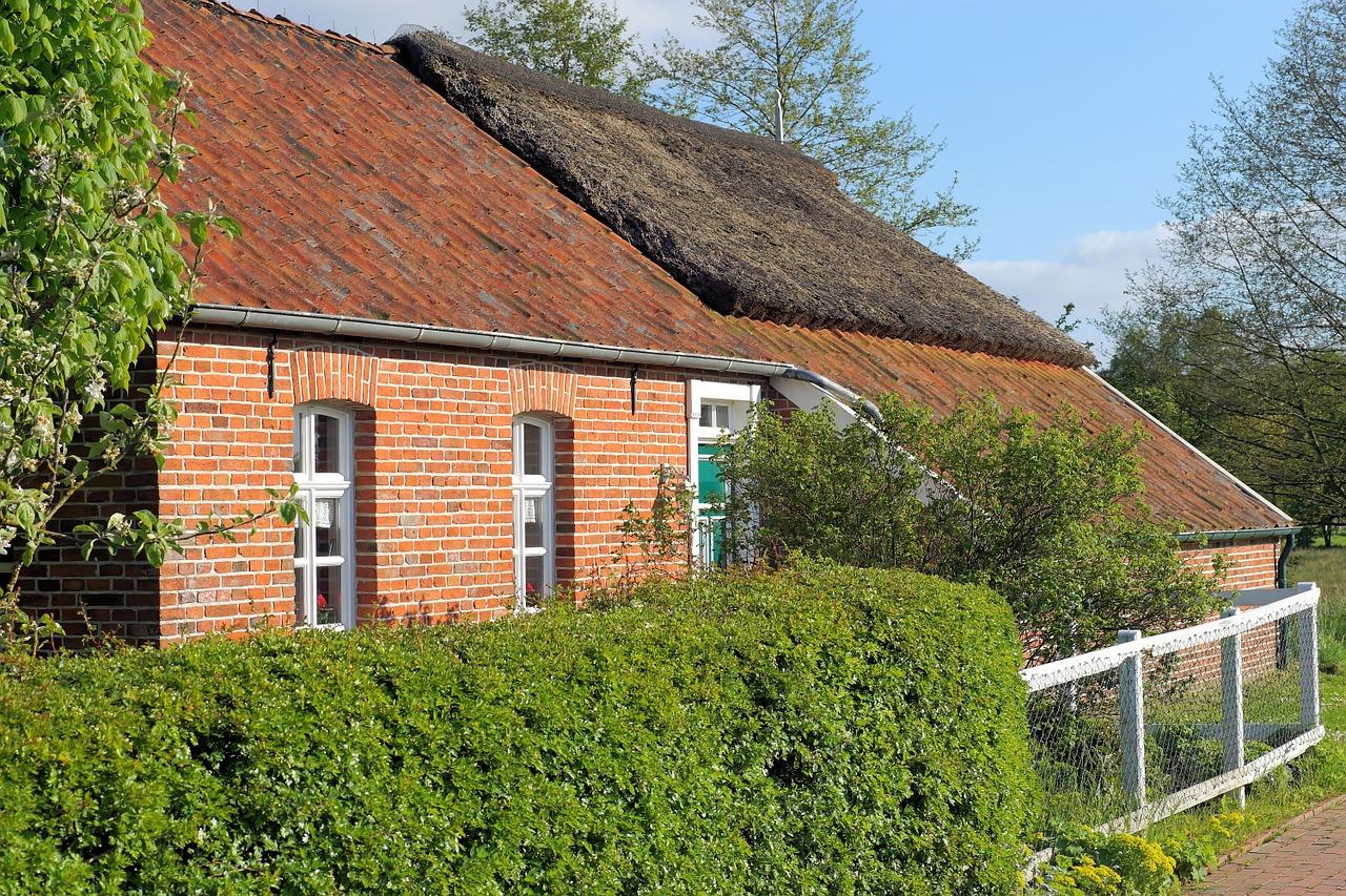 Ostfriesland Krummhörn Hamswehrum Haus mit Hecke